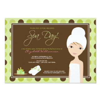 Spa Day Polka-dots Bridal Shower Invite (lime)