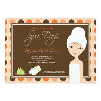 Spa Day Polka-dots Bridal Shower Invite (orange)