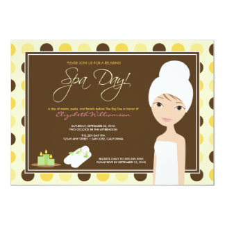Spa Day Polka-dots Bridal Shower Invite (yellow)