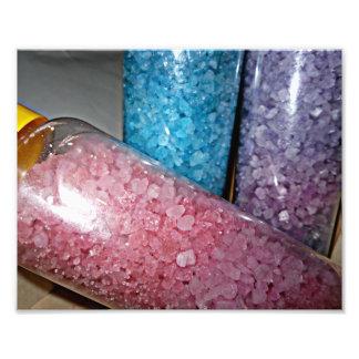 Spa decor theme pink, purple, blue bath salts photo print