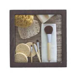 Spa detail of sponges and brushes gift box