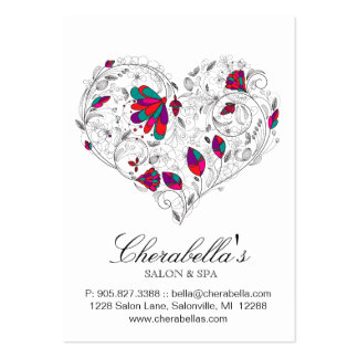 Spa Gift Card Salon Valentine's Floral Heart Color Business Card