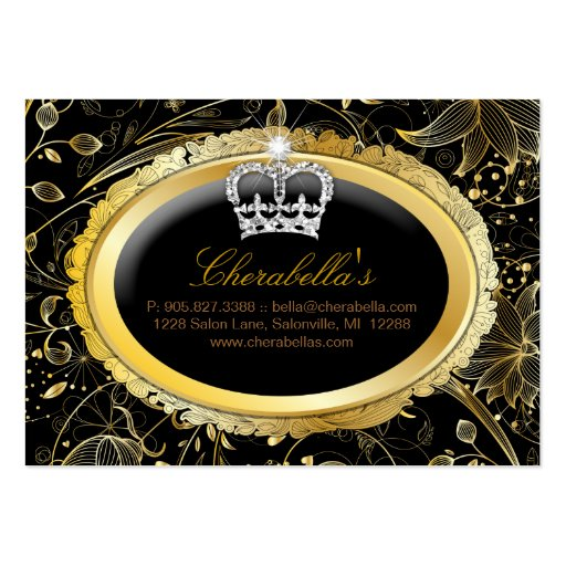 Spa Gift Card Spa Elegant Gold Floral Crown Business Card