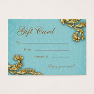 Spa Gift Card Spa Elegant Gold Leaf Blue