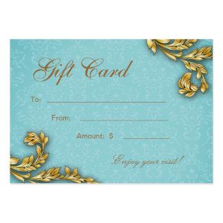 Spa Gift Card Spa Elegant Gold Leaf Blue Large Business Cards (Pack Of 100)