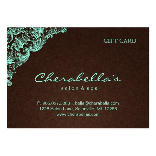 Spa Gift Card Spa Linen Brown Mint Business Card Templates