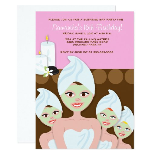 Spa Girls Birthday Invitation, Any age Card