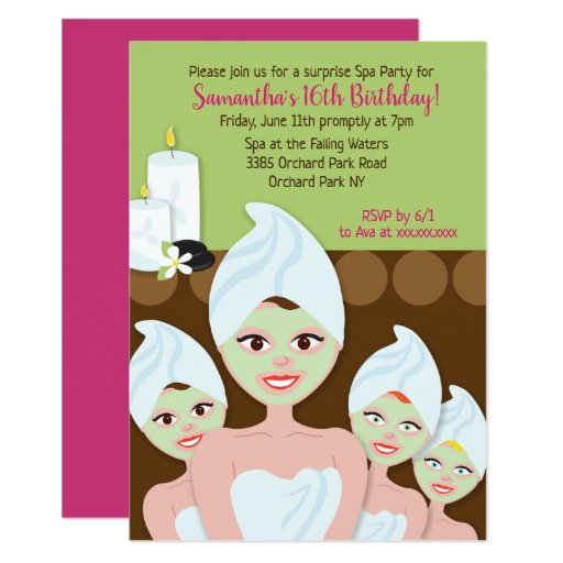 Spa Girls Birthday Invitation, Any age Card