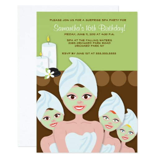 SPA Girls PARTY Birthday or Bridal Shower 5x7 Card