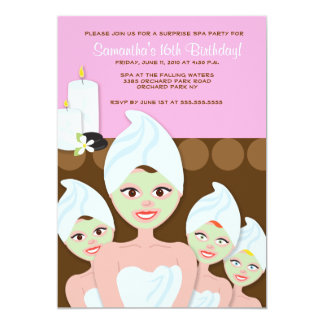 SPA Girls PARTY Birthday or Bridal Shower 5x7 Announcement