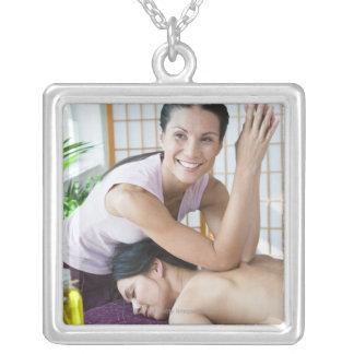 Spa massage 2 square pendant necklace