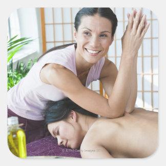 Spa massage 2 square sticker