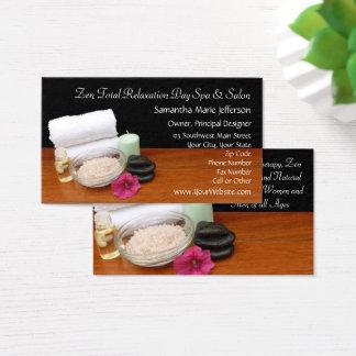 Spa/Massage/Pedicure Salon Scene Black/Color Business Card