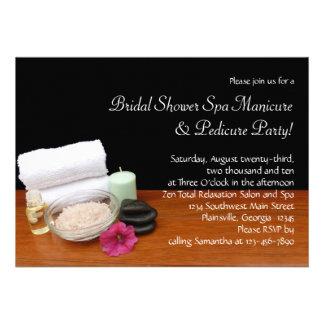 Spa Massage Pedicure Salon Scene Black Color Personalized Announcement