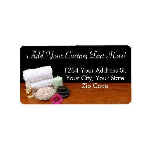 Spa/Massage/Pedicure Salon Scene Black/Color Address Label