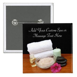 Spa/Massage/Pedicure Salon Scene Black/Color Pinback Button