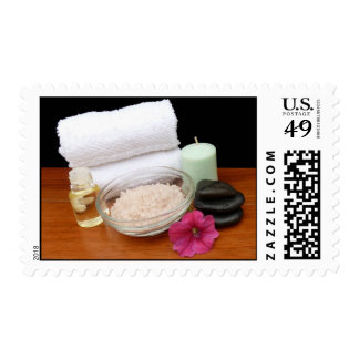 Spa/Massage/Pedicure Salon Scene Black/Color Postage Stamp