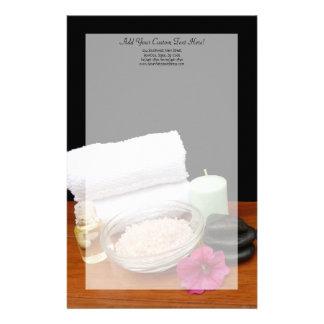 Spa/Massage/Pedicure Salon Scene Black/Color Stationery