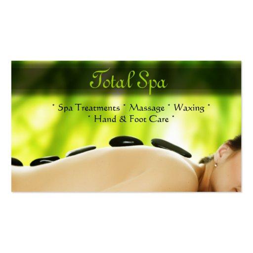 Spa Massage Salon Business Card Green Rocks