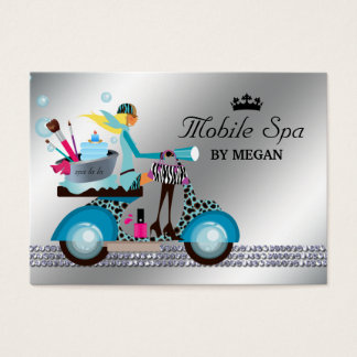 Spa Nail Salon Scooter Girl Fashion Modern Bubbles Business Card