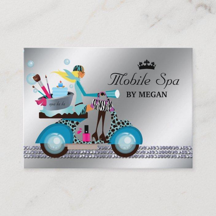 Spa Nail Salon Scooter Girl Fashion Modern Bubbles Business Card Zazzle Com