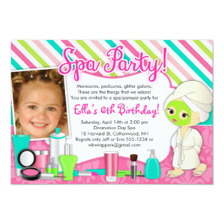 Spa / Pamper/ Glamor Party Invitations with Photo