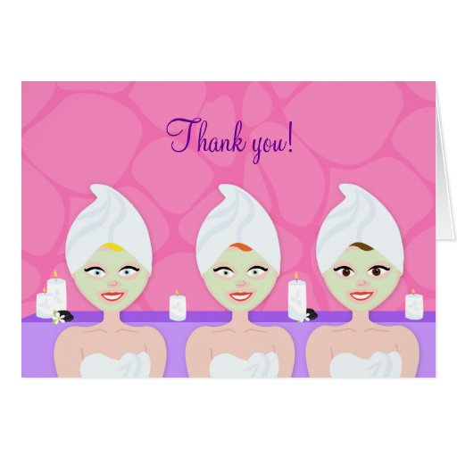 SPA PARTY Folded Thank you notes - Pink/Purple