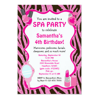 Spa Party Invitation, Spa Birthday sleepover Card