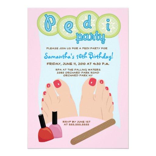Personalized Nail polish Invitations – Pedicure Party Invitations