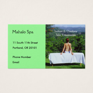 Spa Photo of Outdoor Massage Table Business Card