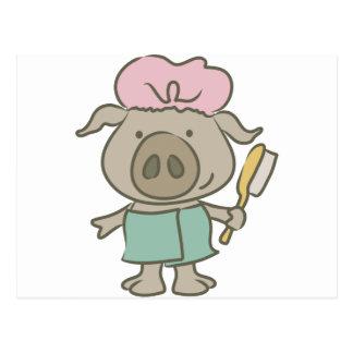 spa pig postcard