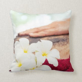 Spa Pillow with hand massaging on back Spa Decor