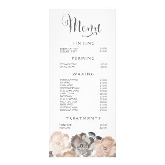 Spa Salon Beautician Menu Roses Price List Personalized Rack Card