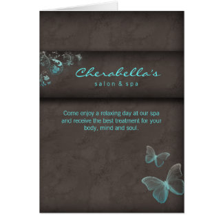Spa Salon Brochure Greeting Card Butterfly Blue