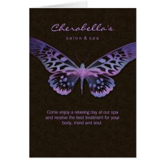 Spa Salon Brochure Greeting Card Butterfly Purple card