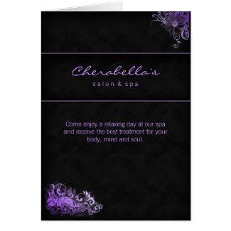 Spa Salon Brochure Greeting Card Floral Purple card