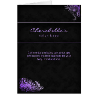 Spa Salon Brochure Greeting Card Floral Purple