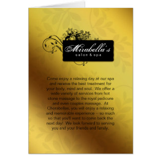 Spa Salon Brochure Greeting Card Gold Butterfly