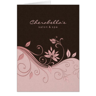 Spa Salon Brochure Greeting Card Pink Flowers