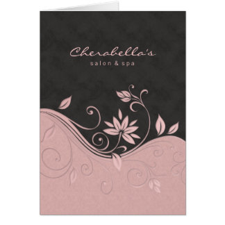 Spa Salon Brochure Greeting Card Pink Gray Flowers