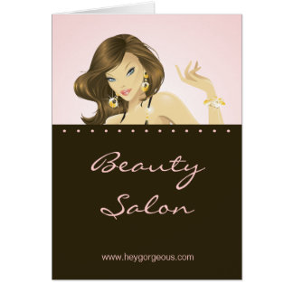 Spa Salon Brochure Greeting Card Pink Woman