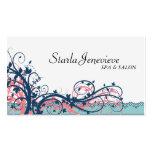 Spa & Salon Business Card - Blue Elegant Floral