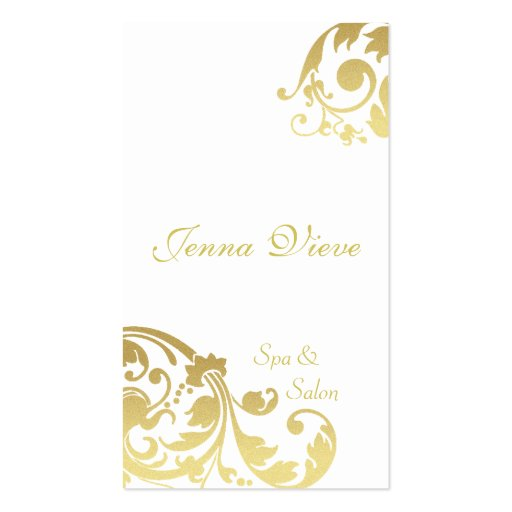 Spa & Salon Business Card Monogram White & Gold