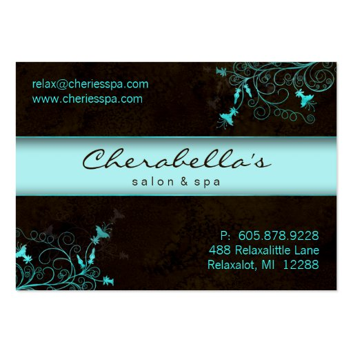Spa - Salon Flower Elegant Turquoise Gift Card Business Card