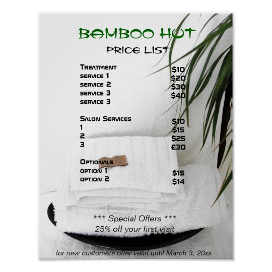 Spa salon massage price list poster for Massage price list template