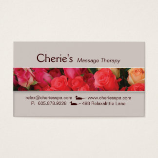 Spa - Salon Massage Therapy Roses Business Card
