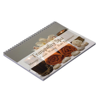 Spa Salon Tranquil Towels Candles Spiral Notebook