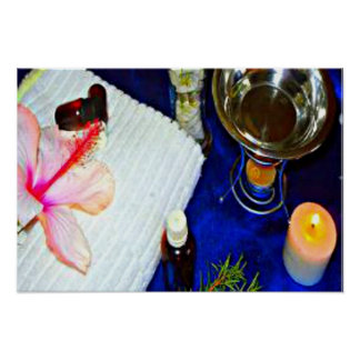 Spa scene with hibiscus, candle, essential oils poster