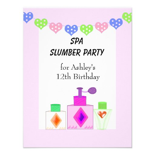 Spa Slumber Party for Girls Personalized Invitations