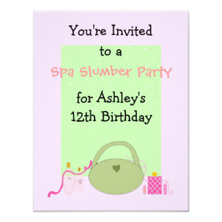 Spa Slumber Party for Girls 4.25x5.5 Paper Invitation Card